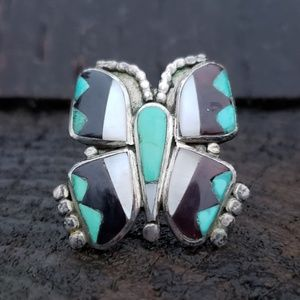 Turquoise Sterling Silver Butterfly Ring sz 6